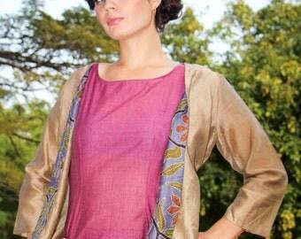 Silk jacket, hand-embroidered collar - bronze / mauve