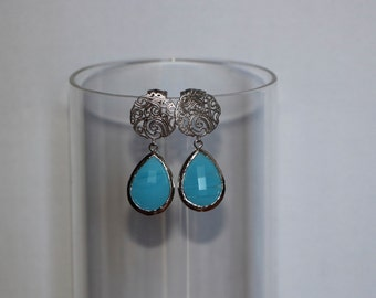 Free Shipping. Silver Patterned Brass Earring with Turquoise Crystal Pendant. Hand made