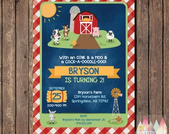 Farm Birthday Invitation. Farm Birthday. Farm Animals Invitation. Farm Party. Farm Invitation. Barnyard Birthday. Barnyard Invitation.