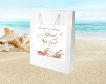 20 Beach Seashell Destination Wedding Welcome Bags, hotel hospitality bags, out of towner guest goody bags, wedding favors,