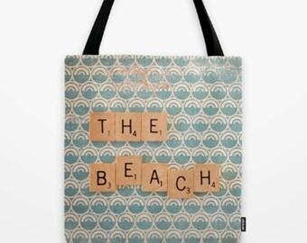 Beach (Market Bag) -  Beach Bag, Farmers Market Bag, Beach Tote, Summer Tote Bag, Gift for Readers, Blue Handbag, Small Tote, Beach Tote Bag