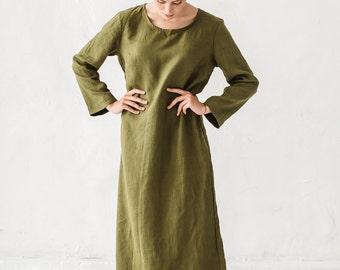 Linen dress, Long linen dress, Moss green linen tunic, Minimal linen tunic, Maxi dress, Stone washed, Linens, Loose dress, Women clothes
