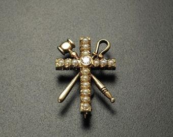 1900's Masonic 14k Diamond and Seed Pearl Pin, Antique Gold Cross Pendant