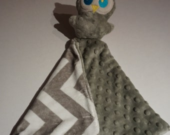 Owl security blanket-Chevron Minky Lovie-  Lovey-baby shower gift- grey owl luvie- Ready to ship- Baby gift, Ready to ship