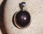 6 Pointed Star Garnet Pendant Bezel Set in Sterling Silver, Rare Garnet, Dark Red Gemstone Talisman, Unusual Stone, SGP2