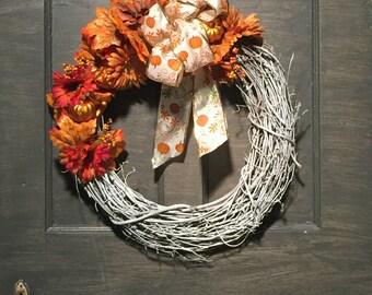 Fall PumpkinWreath, FREE SHIPPING, White Grapevine Wreath, Autumn Wreath