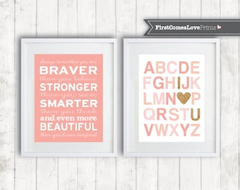 Coral Nursery Art Girl Bedroom Decor Print or Canvas Alphabet I Love You and You Are Braver Set Glitter Gold Pink Blush Peach Nursery Set