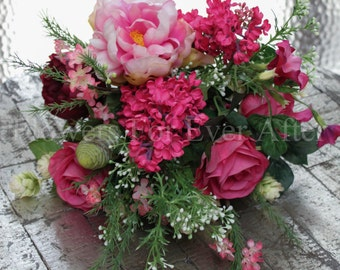 Maddison, Bright Pink Rustic Silk Wedding Bridal Bouquet, Artificial Posy