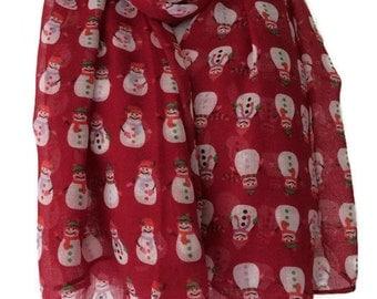 Red Snowman Scarf , Ladies Red Christmas Wrap, Xmas Shawl, Festive scarf