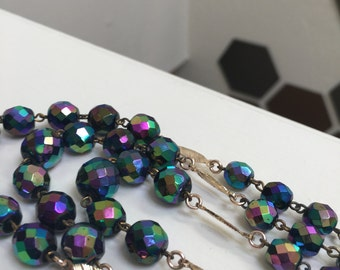Rainbow Heavy Metal 3 Tier Vintage Necklace