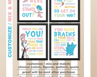 dr seuss baby shower, dr seuss prints, dr seuss nursery decor, dr seuss signs, dr seuss wall art, today you are you, cat in the hat nursery