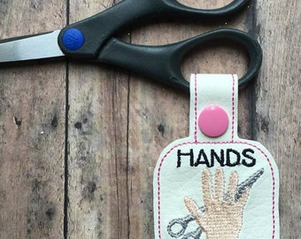 Hands Off - Scissors - Tab - In the Hoop - Snap/Rivet Key Fob - DIGITAL Embroidery Design