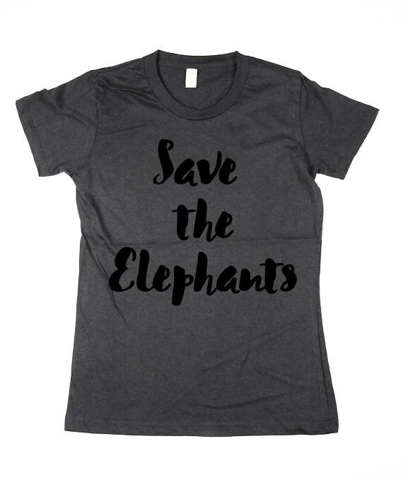 Womens Save the Elephants T-shirt - elephants, organic cotton Shirt, womens,  ladies, Moss, Brown, Navy, Small, Medium, Large, XL, 2XL