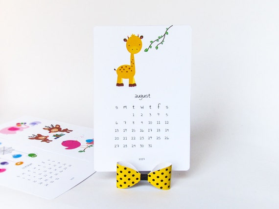 Diy Calendar For Kids : Printable desk calendar diy animal cute