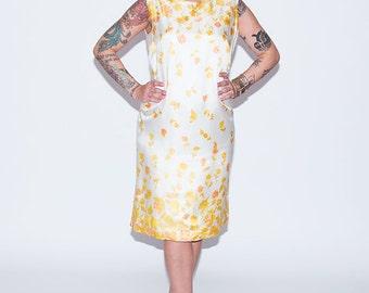 1960's Floral Silk Dress//1960's Silk Shift Dress// Vintage Silk Dress