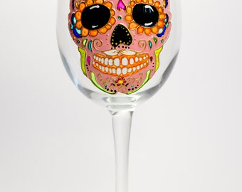 Halloween Table Decor Sugar Skull Gift Skull Wine Glass, Day of the Dead Painted Wine Glass, Gift for Women, Birthday Gift