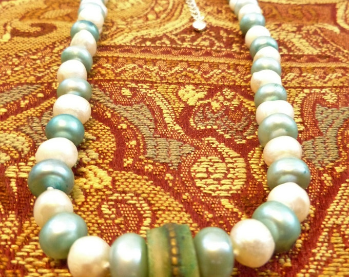Wedding Day Fresh Water Pearls Hand Strung Nickle Free Clasp and Chain 18 Inches White Silk Cord Something New Blue and Old