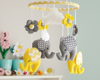 Baby Mobile - Yellow Grey Mobile - Elephant Mobiles - Nursery Mobiles - Felt Mobiles - Baby Shower Gifts - MADE TO ORDER