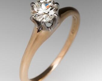 1940's 1/2 Carat Old European Cut Diamond Solitaire Engagement Ring 14K WM10413