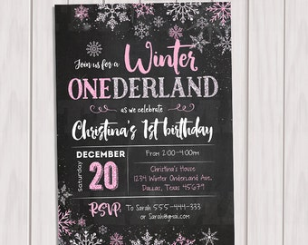 WINTER ONEDERLAND Invitation Chalkboard, Winter Onederland Birthday Party Invitation, Winter Wonderland First Birthday Party