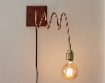 Spiral_2. Wall lamp / applique copper and wood. Industrial , vintage table lamp . OOAK