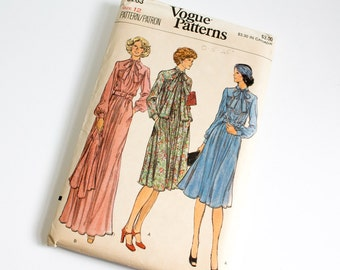 SIZE 12 VOGUE 9263 WOMEN'S 1980s Sewing Pattern Dress with Neck Bow Tie and Jacket Eighties 80s American Hustle