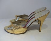 Bombshell late 1950s gold lame knotted vamp stiletto mules US 6 1/2 UK 4 1/2