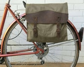Vintage Olive Drab Green Military Surplus Style Messenger Bag Bicycle Pannier with Leather Accents