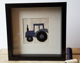 Freehand Machine Embroidery and Applique Tractor Stitched Picture