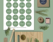 Printable Herb & Spice Jar Labels | 1.5 inch Circle | Round Stickers, Green, Floral, Pantry Organization, Kitchen stickers, Instant Download