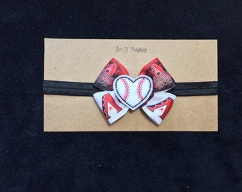 Arizona Diamondbacks Inspired Baby Headband, Diamondbacks Baseball Hair Bow, AZ Diamondbacks Baby Hair Clip, Diamondbacks Baseball Girl