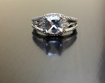 Art Deco Blue Topaz Diamond Engagement Ring - Blue Topaz Diamond Wedding Ring - Art Deco Topaz Ring - Topaz Wedding Ring -Blue Topaz Ring