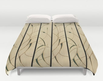 Solar Art - Solar Pyrography — Duvet Cover with Delicate Solar Etched Design - 'Cattails' Diptych / Stunning, Stylish & Unique