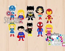 Superhero party boys and girls STICKERS set of 30