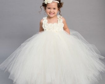 Flower girl dress - Tulle flower girl dress - Ivory Dress - Tulle dress-Infant/Toddler - Pageant dress - Princess dress - Ivory flower dress