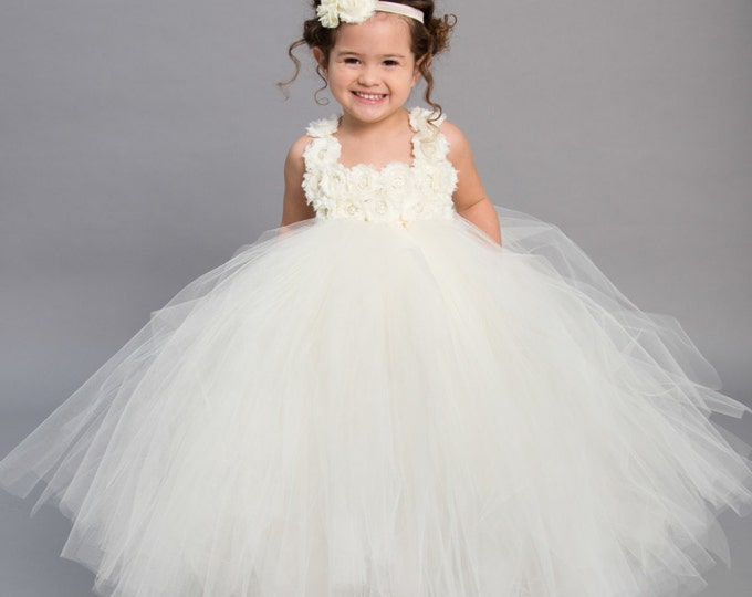 Featured listing image: Flower girl dress - Tulle flower girl dress - Ivory Flower Girl Dress - Tulle dress - Pageant dress - Princess dress - Ivory Dress