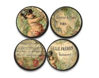 Vintage French Perfume Ephemera Drawer Knobs - Paris, Script, Roses, Floral, Romantic, Bathroom Decor, Victorian, Shabby, Dresser 1214PICB+