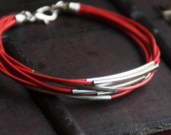 Bracelet, leather bracelet, bracelet, Red