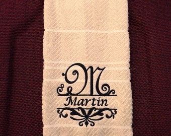 Personalized, Monogrammed Hand/Fingertip Towel - Any Initial