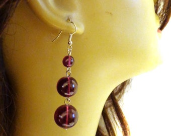 VINTAGE Earrings Glass Bead Dangle Earrings Assorted Colors Triple Bead Earrings