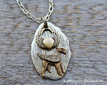 Airedale Terrier Angel Necklace, Airedale Sympathy Gift, Airedale MOM, Pet Memorial Jewelry, Lakeland Terrier, Welsh Terrier