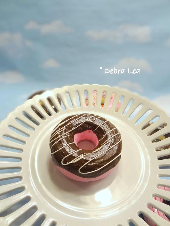 Fake Donut Doughnut Pink Chocolate Glazed Vanilla Drizzle Food Prop Display Faux Decoration
