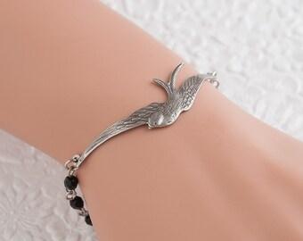 Sparrow Bracelet Bird Bracelet Black Bracelet Silver Bracelet Pearl Bracelet Beaded Bracelet Bird Jewelry Nature Jewelry Woodland Jewelry