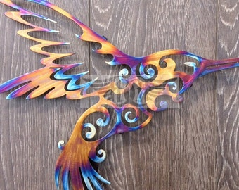 11th Anniversary Stainless Steel Hummingbird Wall Art
