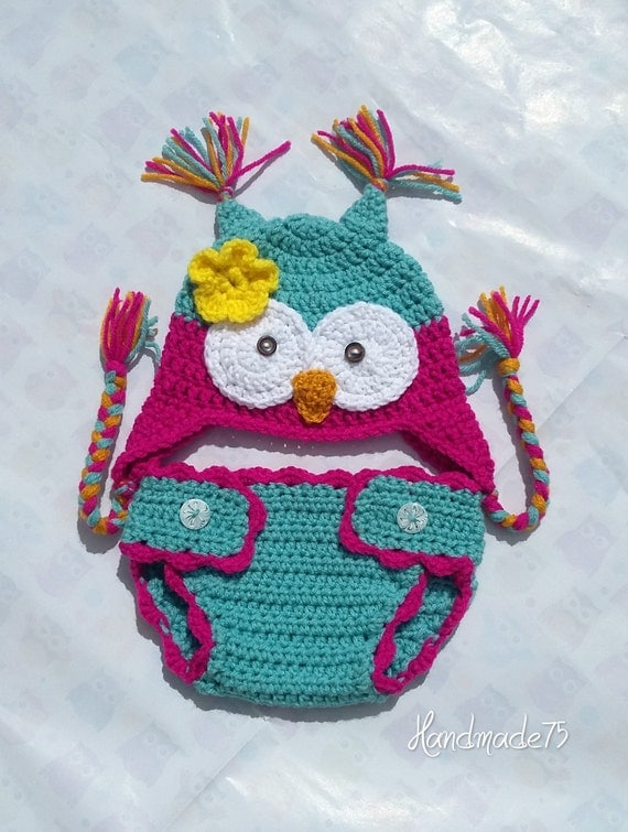 Free Crochet Owl Hat And Diaper Cover Pattern : crochet owl hatcrochet diaper covernewborn setbaby by ...