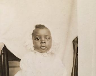 Bonnet Baby Beauty-Antique Photograph, RPPC African American