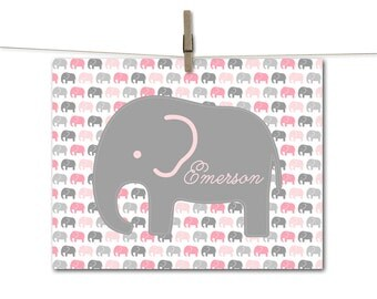 Pink baby elephant nursery art decor - baby girls nursery wall art elephants - pink and gray - baby name art for baby girls room