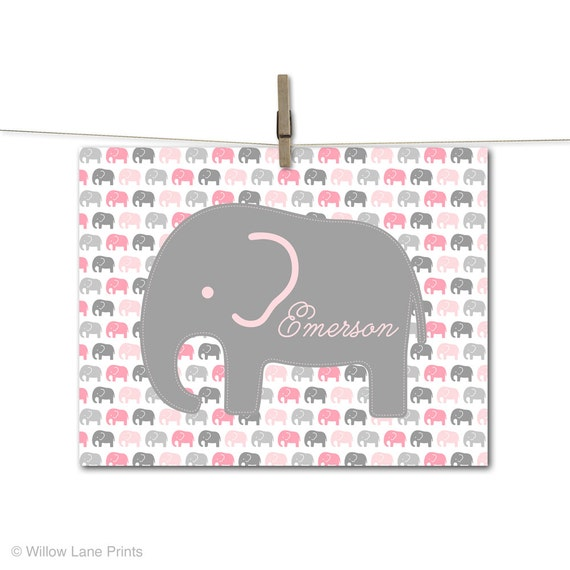 Pink Baby Elephant Nursery Art Decor Baby Girls Nursery Wall