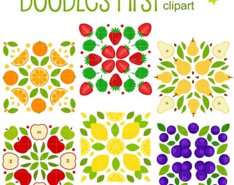 Fruity Squares Clip Art for Scrapbooking Card Making Cupcake Toppers Paper Crafts