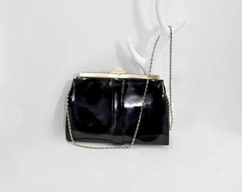 Black Patent Leather Handbag Vintage Purse Rainee Toronto Black Gold Classic